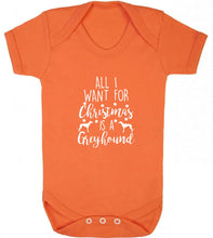 All I want for Christmas is a greyhound baby vest orange 18-24 months