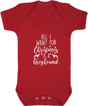 All I want for Christmas is a greyhound baby vest red 18-24 months