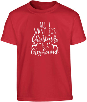 All I want for Christmas is a greyhound Children's red Tshirt 12-13 Years