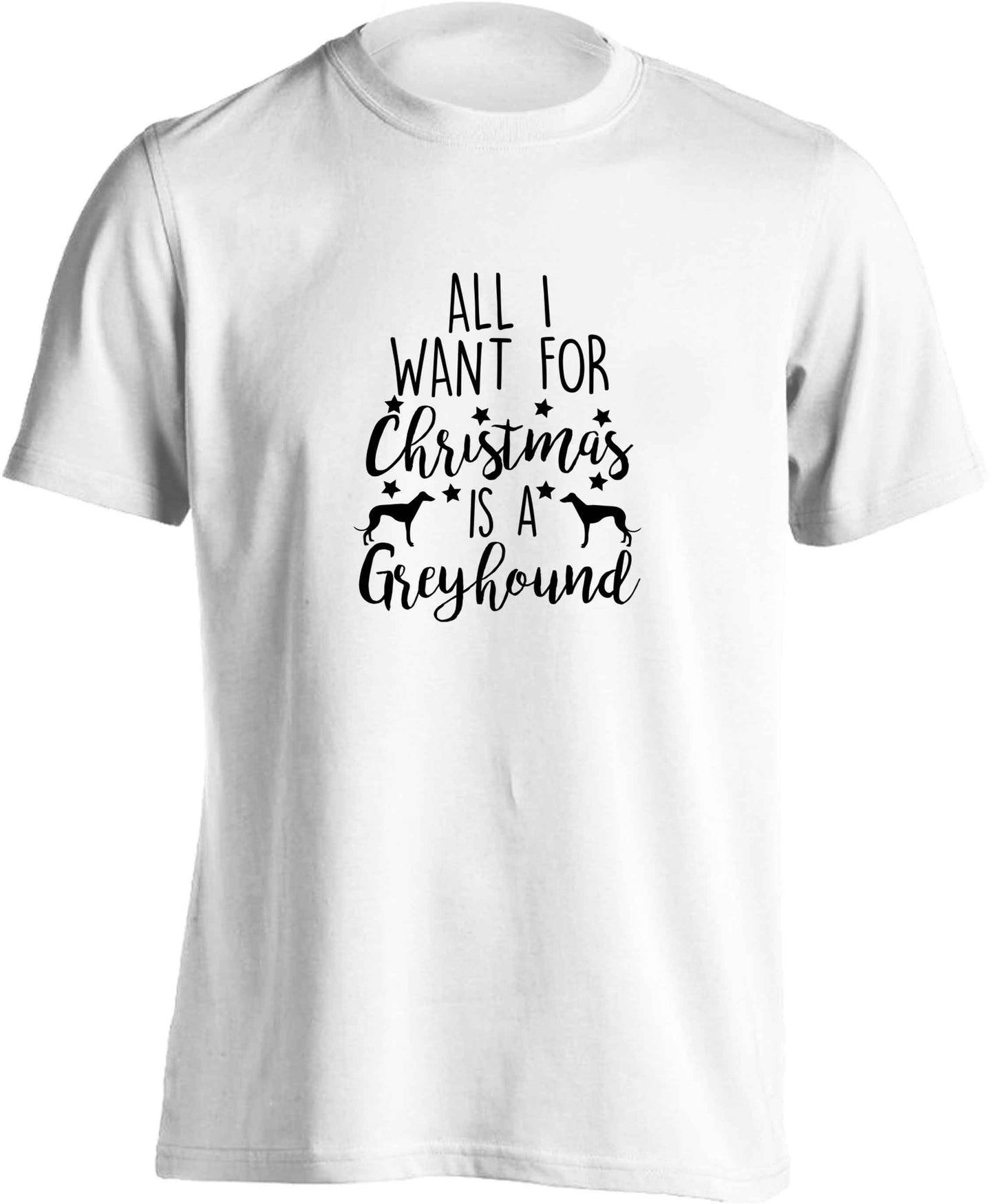 All I want for Christmas is a greyhound adults unisex white Tshirt 2XL