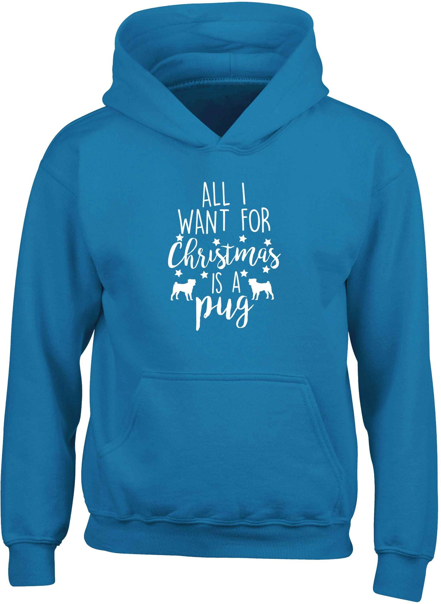 All I want for Christmas is a pug children's blue hoodie 12-13 Years