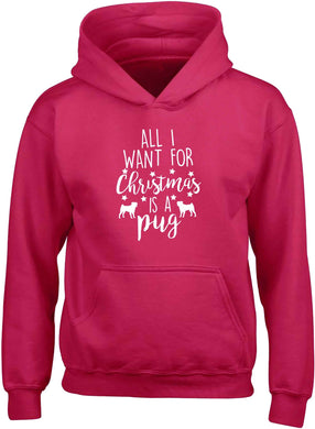 All I want for Christmas is a pug children's pink hoodie 12-13 Years