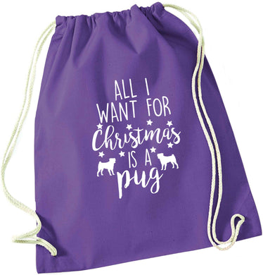 All I want for Christmas is a pug purple drawstring bag