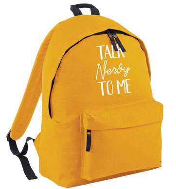 Talk nerdy to me mustard adults backpack