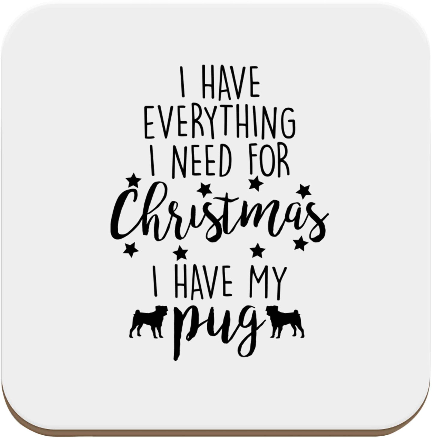 I have everything I need for Christmas I have my pug set of four coasters