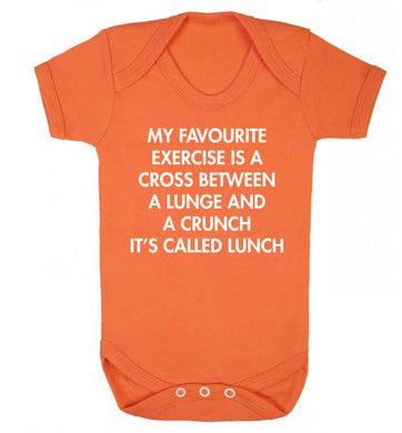 My favourite exercise is a cross between a lung and a crunch it's called lunch Baby Vest orange 18-24 months