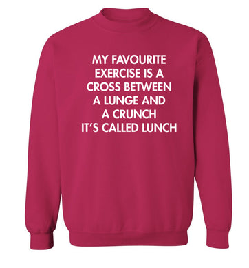 My favourite exercise is a cross between a lung and a crunch it's called lunch Adult's unisex pink Sweater 2XL