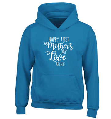 Mummy's first mother's day! children's blue hoodie 12-13 Years
