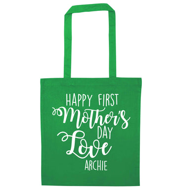 Mummy's first mother's day! green tote bag
