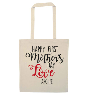Personalised happy first mother's day love natural tote bag