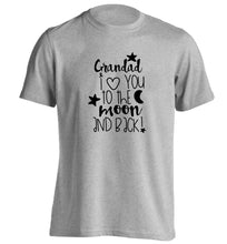 Grandad's I love you to the moon and back adults unisex grey Tshirt 2XL