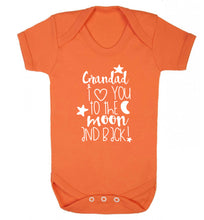 Grandad's I love you to the moon and back Baby Vest orange 18-24 months