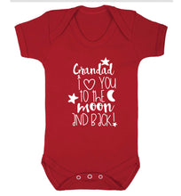 Grandad's I love you to the moon and back Baby Vest red 18-24 months