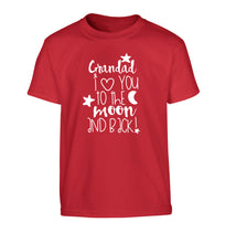 Grandad's I love you to the moon and back Children's red Tshirt 12-14 Years
