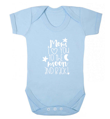 Mom I love you to the moon and back baby vest pale blue 18-24 months