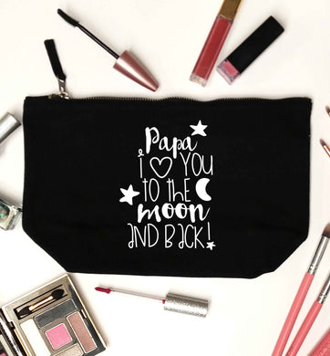 Papa I love you to the moon and back black makeup bag