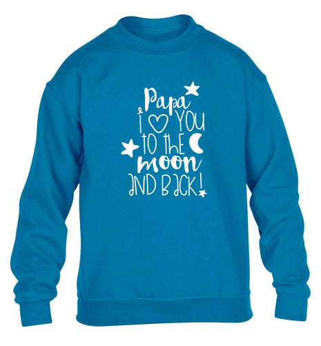 Papa I love you to the moon and back children's blue sweater 12-13 Years
