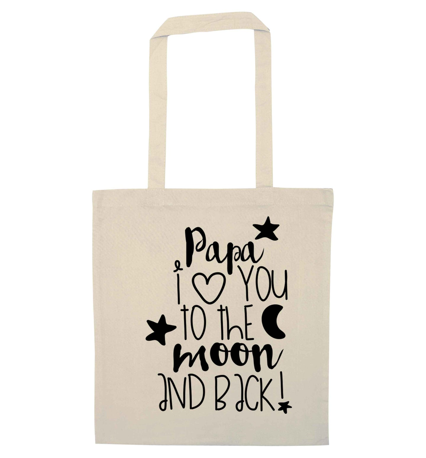 Papa I love you to the moon and back natural tote bag