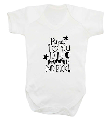 Papa I love you to the moon and back baby vest white 18-24 months