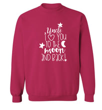 Uncle I love you to the moon and back Adult's unisex pink  sweater XL