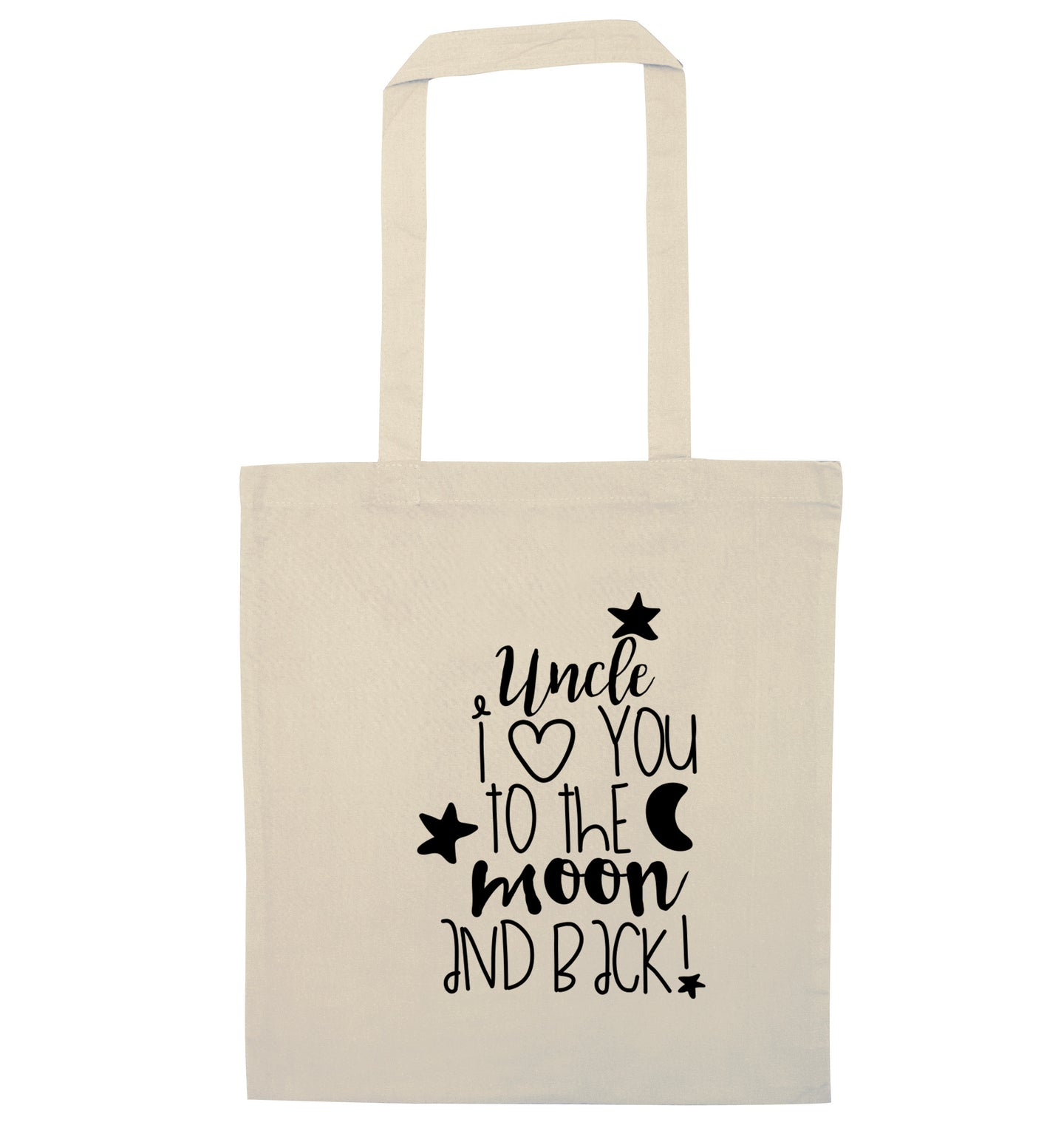 Uncle I love you to the moon and back natural tote bag