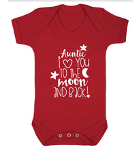 Auntie I love you to the moon and back Baby Vest red 18-24 months