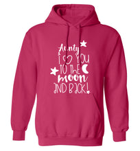 Aunty I love you to the moon and back adults unisex pink hoodie 2XL
