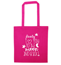 Aunty I love you to the moon and back pink tote bag