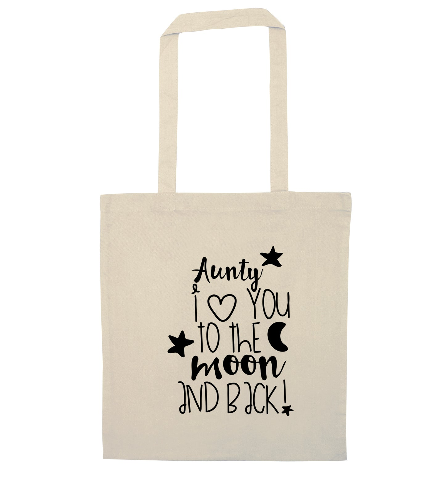 Aunty I love you to the moon and back natural tote bag