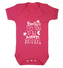 Brother I love you to the moon and back Baby Vest dark pink 18-24 months