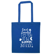 Great Grandad I love you to the moon and back blue tote bag