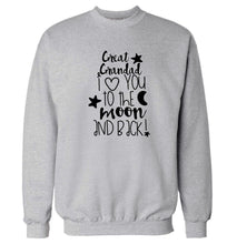 Great Grandad I love you to the moon and back Adult's unisex grey  sweater 2XL