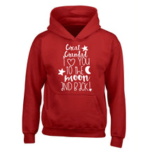 Great Grandad I love you to the moon and back children's red hoodie 12-14 Years