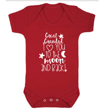 Great Grandad I love you to the moon and back Baby Vest red 18-24 months