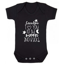 Grandson I love you to the moon and back Baby Vest black 18-24 months