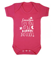 Grandson I love you to the moon and back Baby Vest dark pink 18-24 months