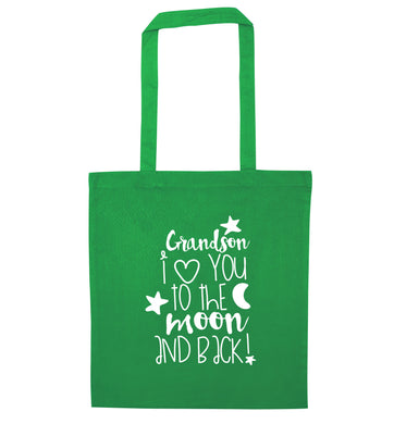 Grandson I love you to the moon and back green tote bag