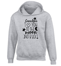 Grandson I love you to the moon and back children's grey hoodie 12-14 Years