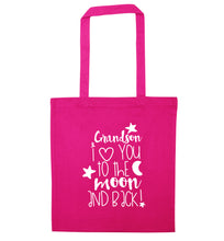 Grandson I love you to the moon and back pink tote bag