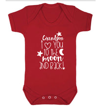 Grandson I love you to the moon and back Baby Vest red 18-24 months
