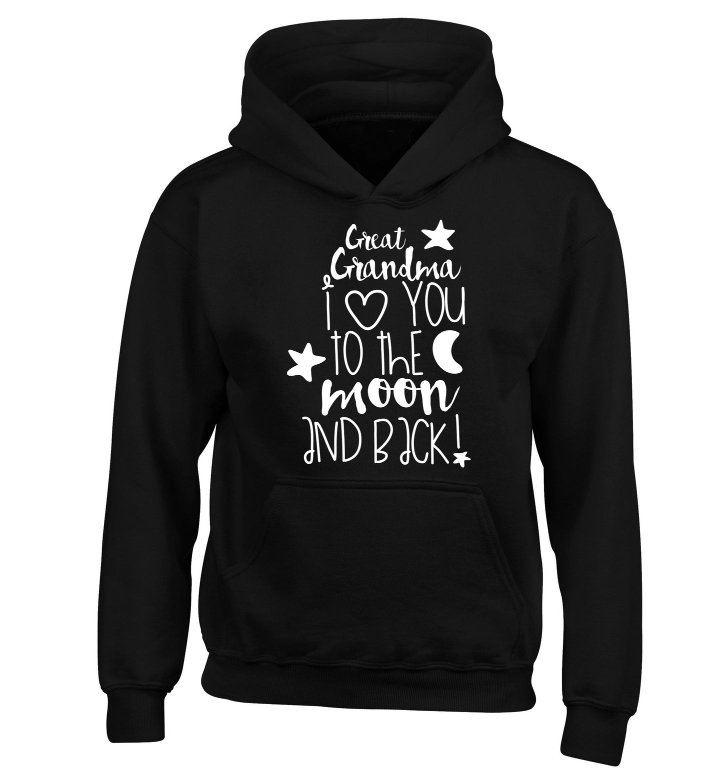 Great Grandma I love you to the moon and back children's black hoodie 12-14 Years