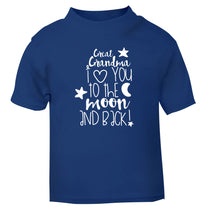 Great Grandma I love you to the moon and back blue Baby Toddler Tshirt 2 Years
