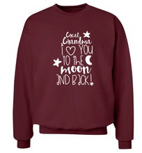 Great Grandma I love you to the moon and back Adult's unisex maroon  sweater 2XL