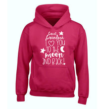Great Grandma I love you to the moon and back children's pink hoodie 12-14 Years