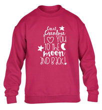 Great Grandma I love you to the moon and back children's pink  sweater 12-14 Years