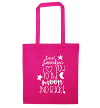 Great Grandma I love you to the moon and back pink tote bag
