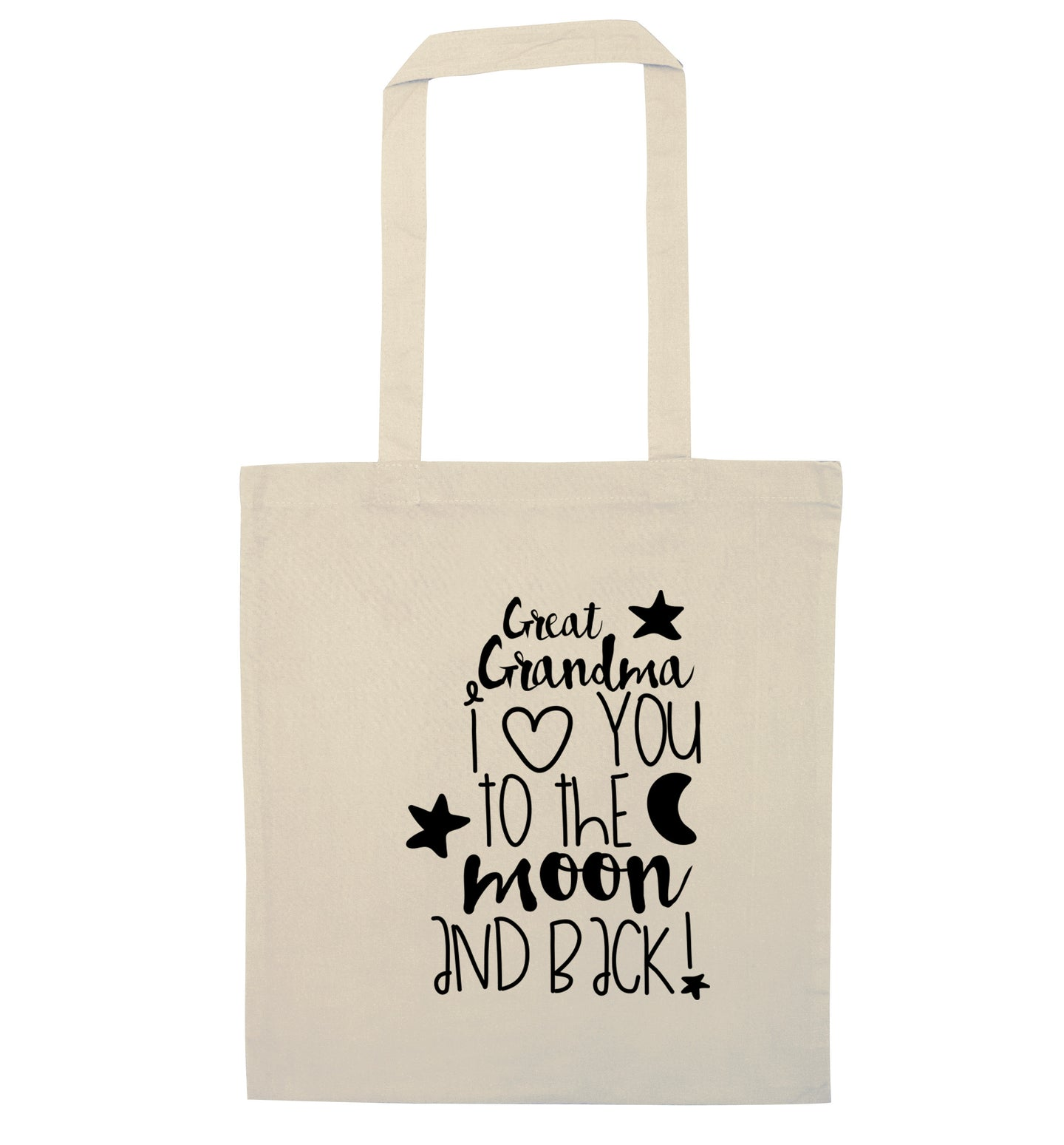 Great Grandma I love you to the moon and back natural tote bag