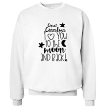 Great Grandma I love you to the moon and back Adult's unisex white  sweater 2XL