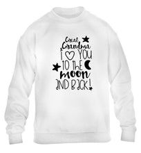 Great Grandma I love you to the moon and back children's white  sweater 12-14 Years