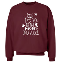 Great Nana I love you to the moon and back Adult's unisex maroon  sweater 2XL